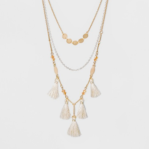 Three Rows and Tassels Short Necklace - A New Day™ Gold - image 1 of 3