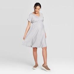 Maternity Striped Cuffed Short Sleeve Shirtdress - Isabel Maternity by Ingrid & Isabel™ Gray