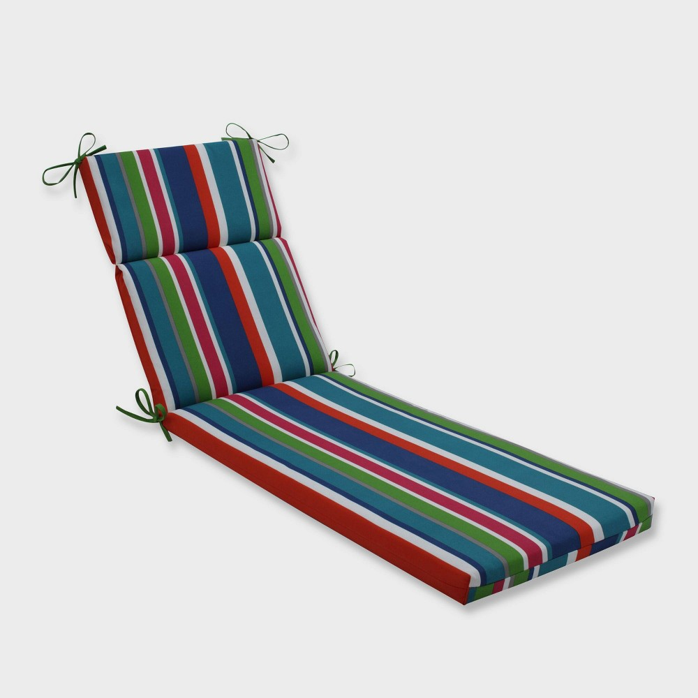 St. Lucia Stripe Chaise Lounge Outdoor Cushion Blue - Pillow Perfect