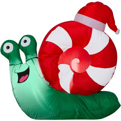 Gemmy Christmas Airblown Inflatable Snail Santa, 3 ft Tall, Multicolored