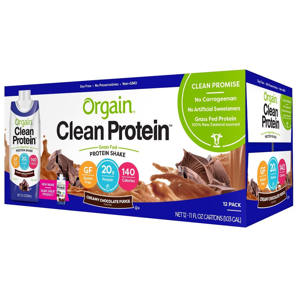 Orgain Clean Grass-Fed Protein Shake - Creamy Chocolate Fudge - 12ct