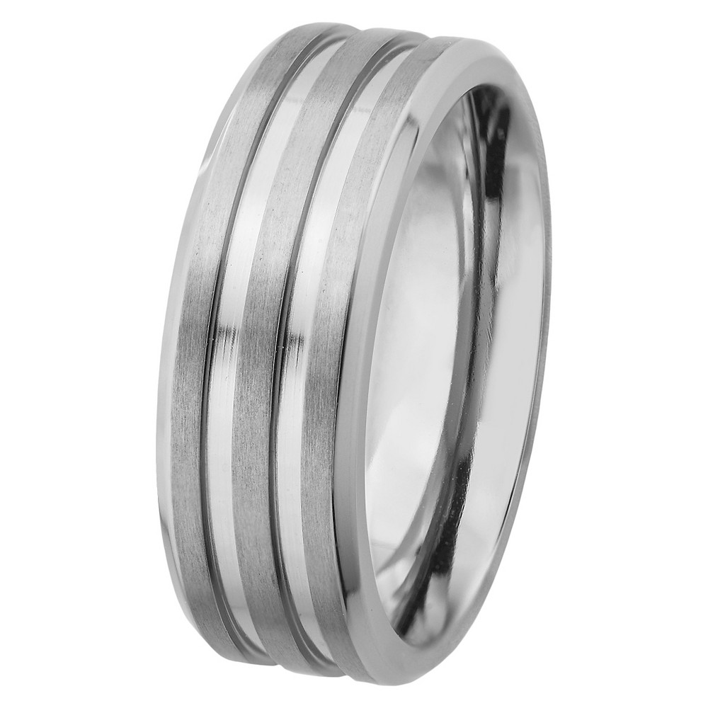 Men's Titanium Satin Finish and Polished Grooved Ring (8mm), Size: 11, Silver