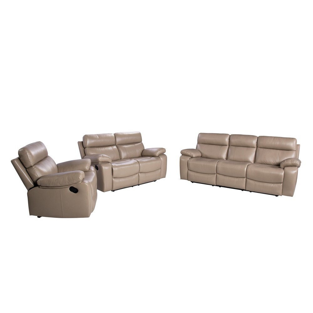 Image of 3pc Cameron Leather Reclining Set Beige - Abbyson Living