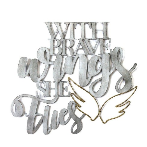 """17.25"""" X 16"""" """"With Brave Wings She Flies"""" Metal Word Art - image 1 of 4"""