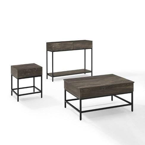 3pc Jacobsen Coffee Table Set End Table Charcoal Crosley Target