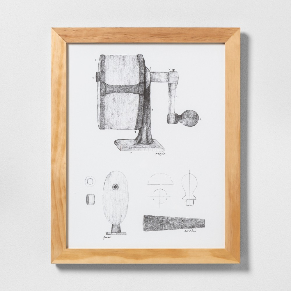 "Image of ""16"""" X 20"""" Pencil Sharpener Wall Art with Natural Wood Frame - Hearth & Hand with Magnolia"""
