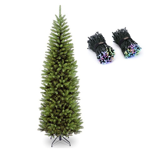 National Tree Company Kingswood 7 Ft Slim Unlit Artificial Christmas Tree Bundle With Twinkly Bluetooth Wifi 400 Led Rgb Color 105 Ft String Lights Target