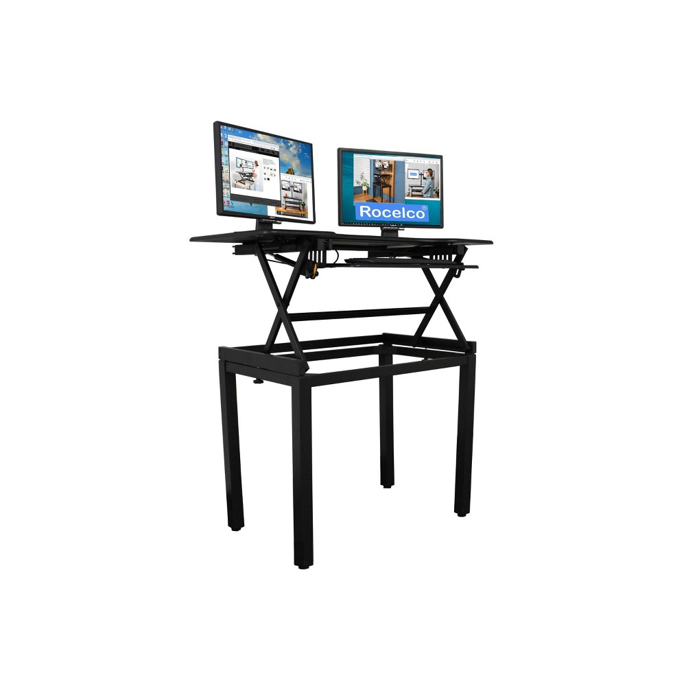 "Image of ""46"""" Height Adjustable Standing Desk Bundle Black - Rocelco, Size: 46"""""""