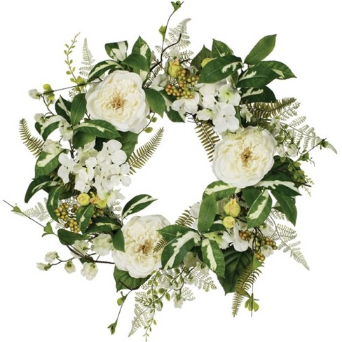 """Sullivans Artificial Peony, Hydrangea and Sweet Pea Wreath 25""""H Green - image 1 of 2"""