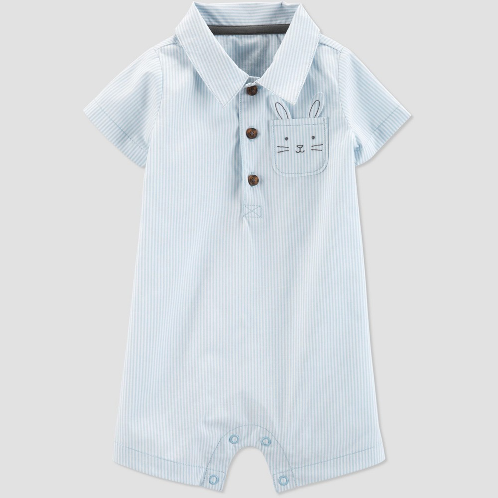 301e0f69857f Baby Boys Striped Bunny Romper Just One You made by carters Blue 3M