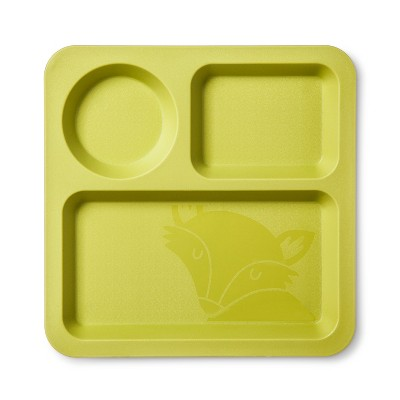 Square Plastic Divided Kids Plate 9.5  Lime - Pillowfort™