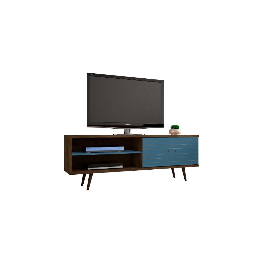 62.99 Liberty Mid Century Modern TV Stand Rustic Brown/Aqua Blue - Manhattan Comfort