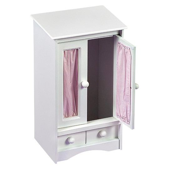 Badger Basket Doll Armoire w/Three Hangers - White image number null