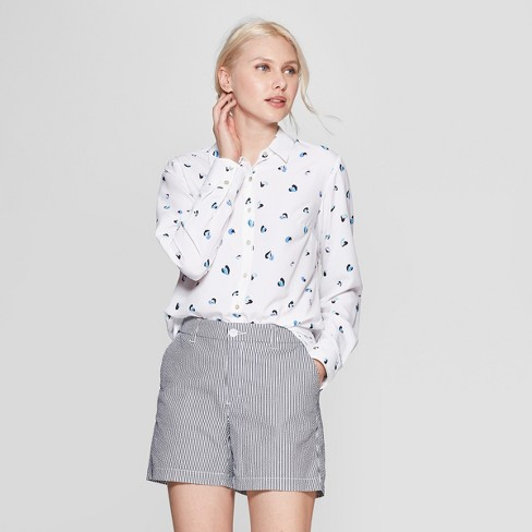 7620f257 Women's Heart Print Long Sleeve Crepe Blouse - A New Day™ White : Target