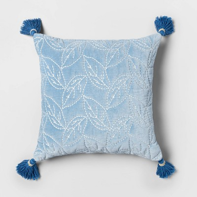 Square Quilted Leaf Pillow with Beaded Tassels Blue - Opalhouse™