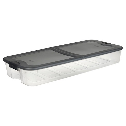 Sterilite 74 Qt Ultra Clear Under Bed Box with Gray Lid & Latches - image 1 of 3