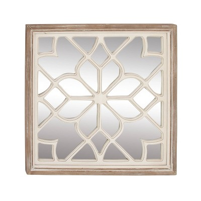 "30"" x 30"" Modern Wooden Lattice Mirrored Decor - Olivia & May"