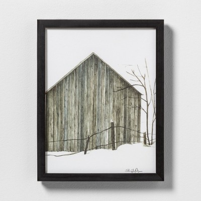 11  X 14  Sketched Barn Wall Art with Black Wood Frame - Hearth & Hand™ with Magnolia