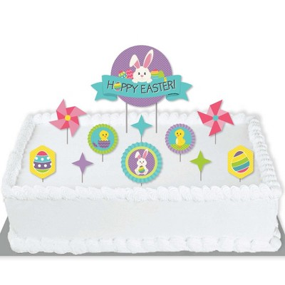 Big Dot of Happiness Hippity Hoppity - Easter Bunny Party Cake Decorating Kit - Hoppy Easter Cake Topper Set - 11 Pieces