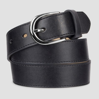 Women's Fashion Skinny Leather Jean Belt with Polished Buckle - A New Day™