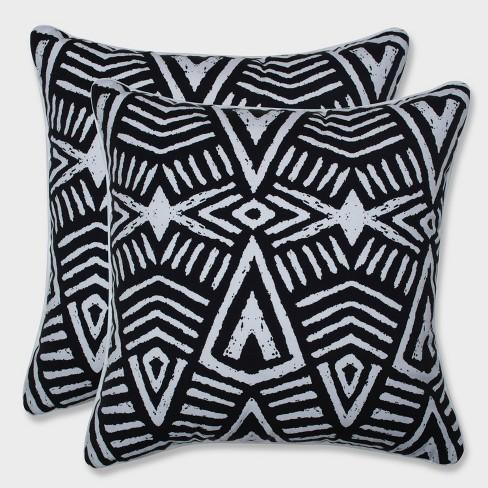 "18.5"" 2pk Tribal Dimensions Throw Pillows Black - Pillow Perfect - image 1 of 1"