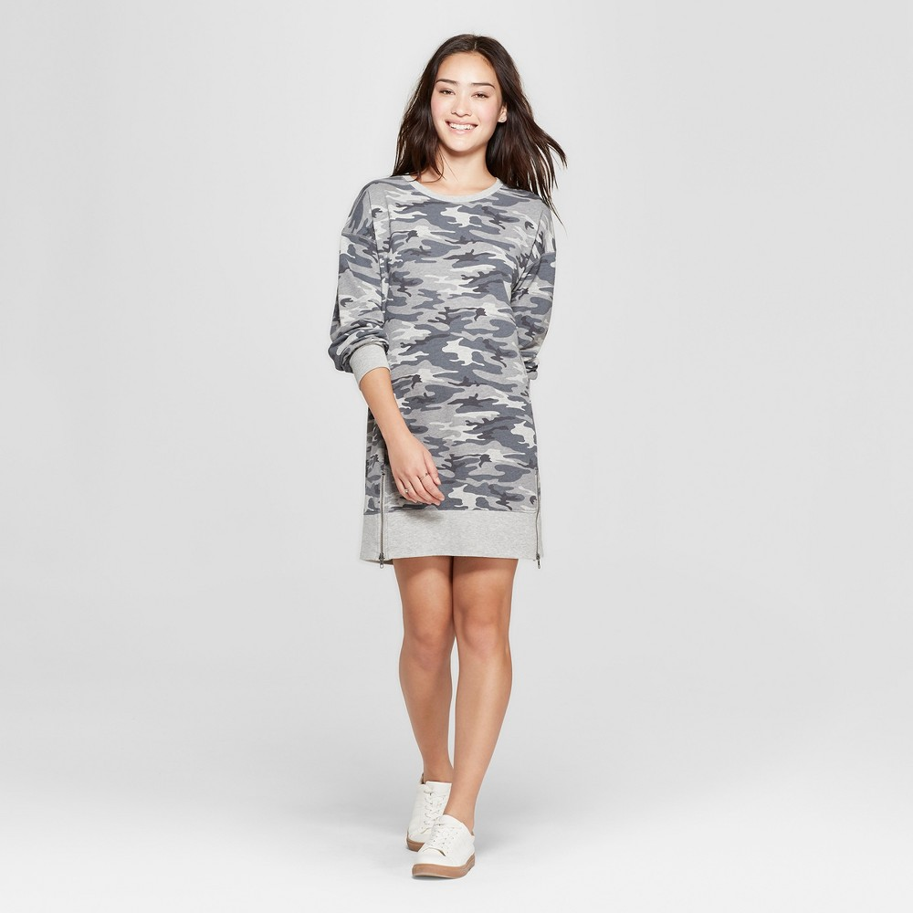 Women's Camo Print Long Sleeve Size Zip French Terry Dress - Grayson Threads (Juniors') Gray S