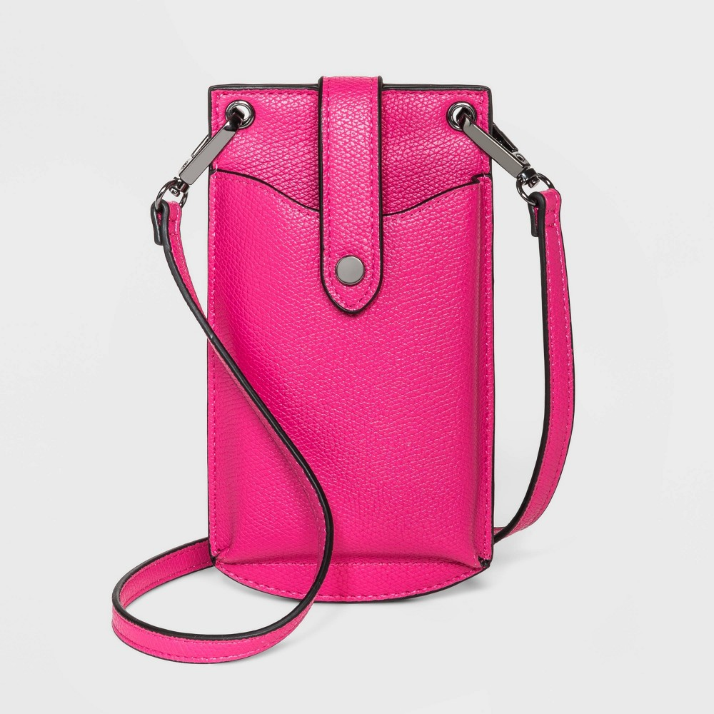 Snap Closure Vertical Wallet On String Crossbody Bag A New Day 8482 Pink
