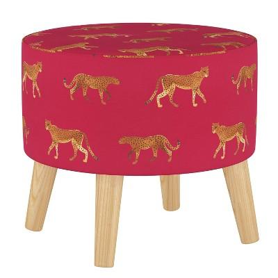 Round Ottoman with Splayed Legs Cheetah Walk Raspberry - Skyline Furniture