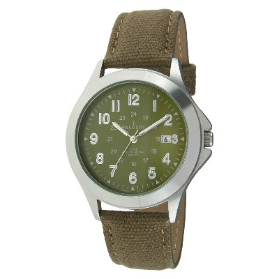 Men's Peugeot  Military Style Canvas Strap Watch - Green