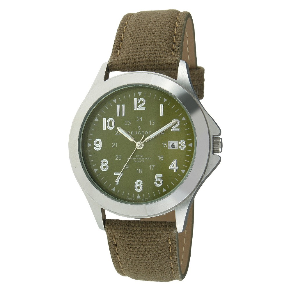 Image of Men's Peugeot Military Style Canvas Strap Watch - Green, Men's, Size: Small, Green Silver