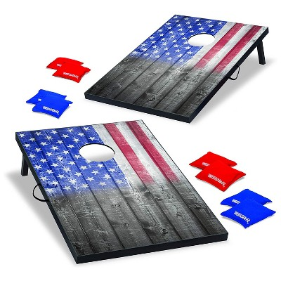 Wild Sports 2 x 3 Foot Old Glory Stars and Stripes USA Flag Cornhole Toss Outdoor Bags MDF Wood Board Game Set with 8 Bean Bags (2 Pack)