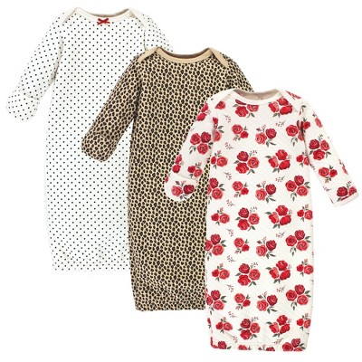 Hudson Baby Infant Girl Quilted Cotton Long-Sleeve Gowns 3pk, Rose Leopard, 0-6 Months