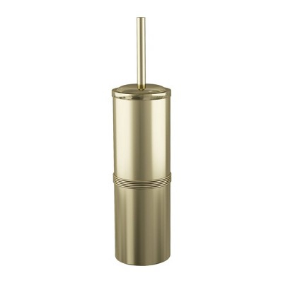 Slim Compact Stainless Steel Toilet Brush Holder Metal/Gold - Nu Steel