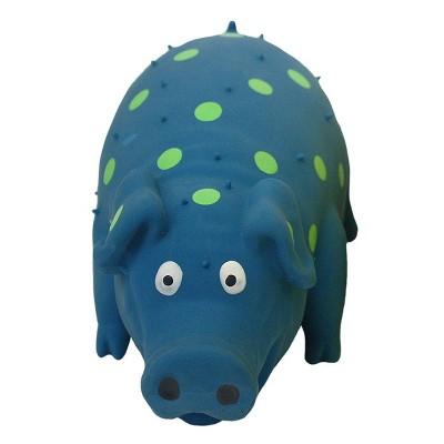 "Multipet Latex Polka Dot Pig Dog Toy - Blue - 9"""