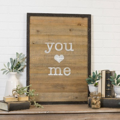 VIP Home & Garden 21.5 x1.3 x30  Wood Sign  You/Me  Brown