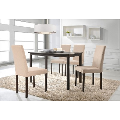 Set Of 2 Andrew Contemporary Espresso Wood Finish Fabric Dining Chairs  Beige   Baxton Studio