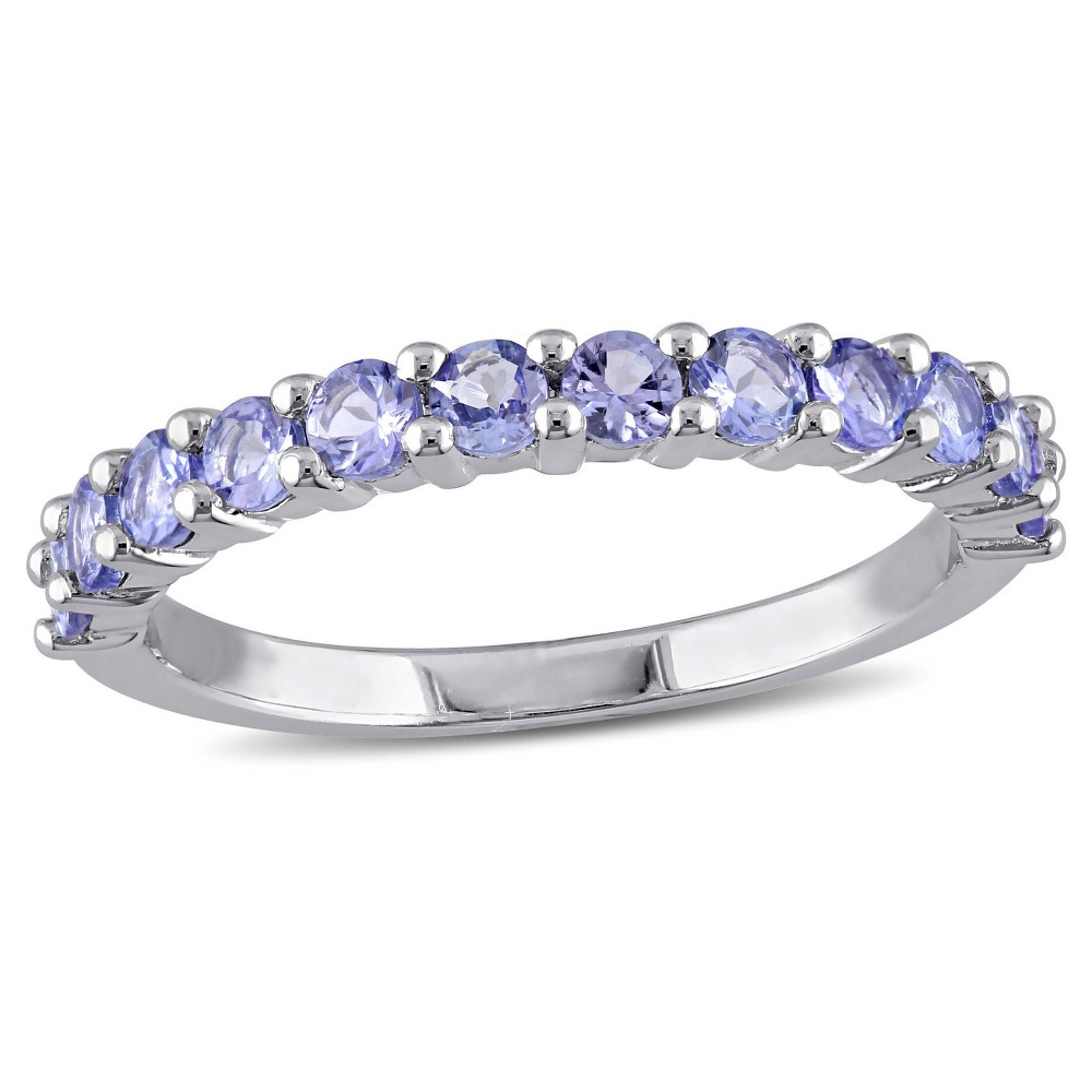 Image of .84 CT. T.W. Tanzanite Stacking Ring in Sterling Silver - (5), Blue