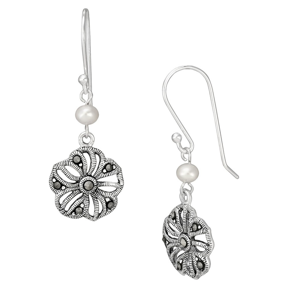 Marcasite and Pearl Earrings - Silver