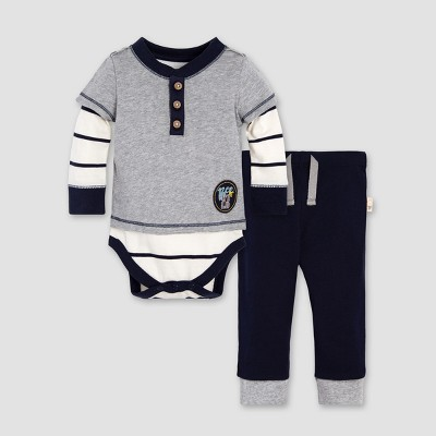 Burt's Bees Baby® Boys' Organic Cotton 2Fer Bodysuit & Pant Set - Midnight 6-9M