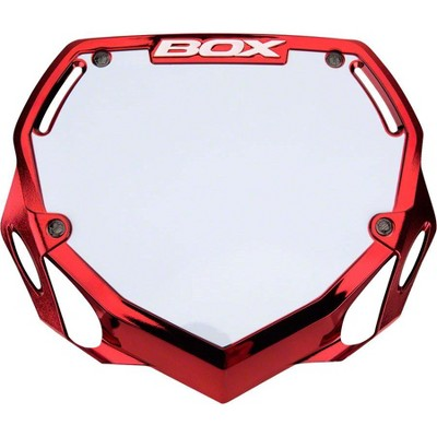 BOX Two BMX Number Plate Red/Crome Large