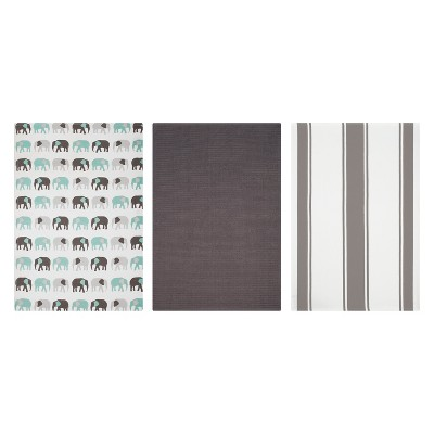 Kitchen Towel Print/Stripe/Solid Gray Set of 3 - Mu Kitchen