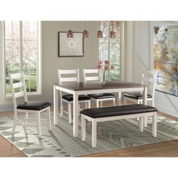 Kona Gray Dining Set-Table, Four Chairs & Bench - 6pc - Picket House Furnishings