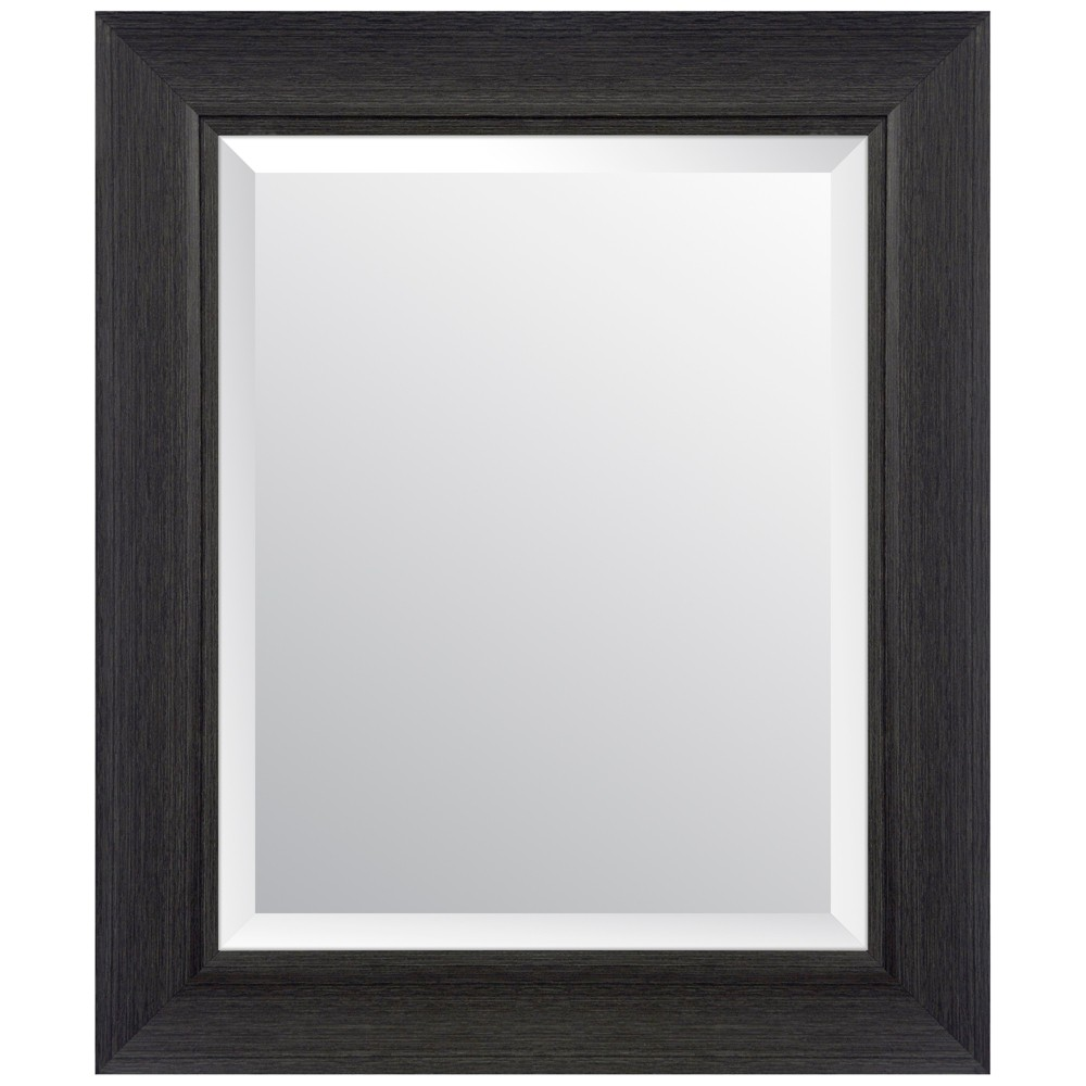 """Image of """"16""""""""x20"""""""" Scoop Framed Beveled Wall Accent Mirror Black - Gallery Solutions"""""""