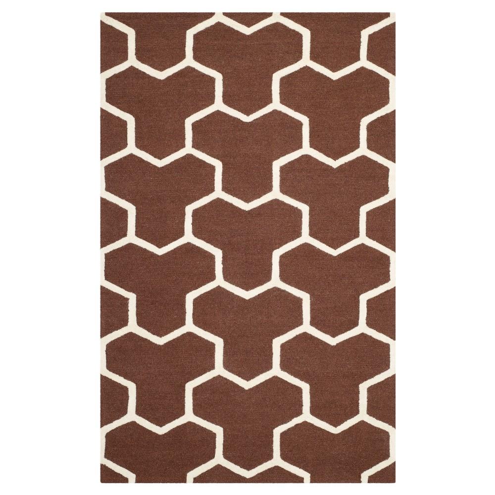 Delmont Texture Wool Rug - Dark Brown / Ivory (5' X 8') - Safavieh, Dark Brown/Ivory