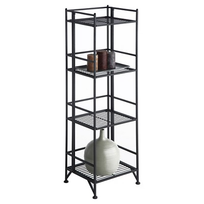 "45"" 4 Tier Folding Metal Shelf Black - Breighton Home : Target"