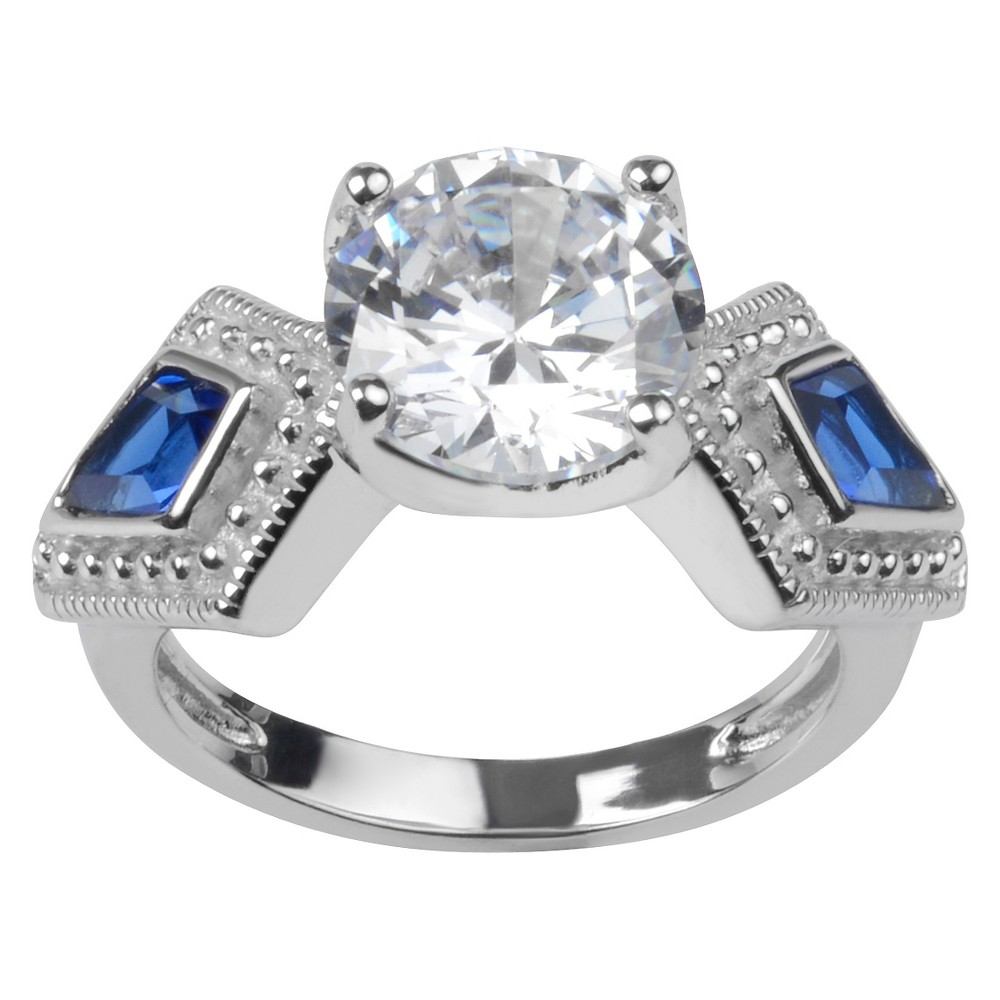3 3/5 CT. T.W. Round-Cut CZ Prong Set Art Deco Ring in Sterling Silver - Blue, 9, Girl's