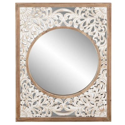 "42"" x 32"" Contemporary Rectangular Wooden Framed Wall Mirror - Olivia & May"