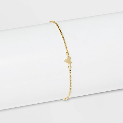 SUGARFIX by BaubleBar 14K Gold Plated Delicate Heart Bracelet - Gold