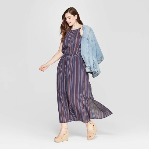 Women\'s Plus Size Striped Sleeveless Halter Neck Maxi Dress - Universal  Thread™
