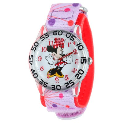 Girls' Disney Minnie Mouse Plastic Watch - Pink